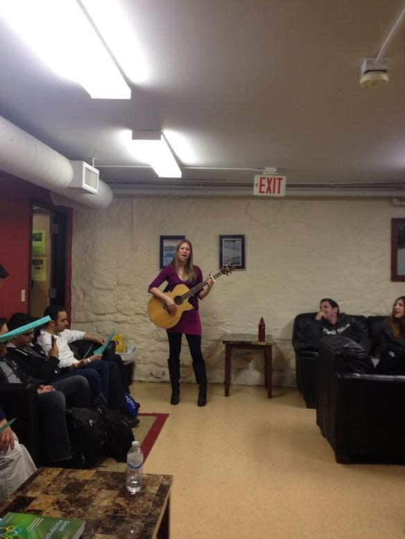 Allison Merten Live Music in the Lounge Photo by Sameh Aljabri You can see some of the students singing along :-)