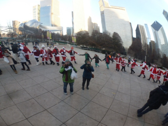 Random People Dressed as Santa, Assembling Around Cloud Gate