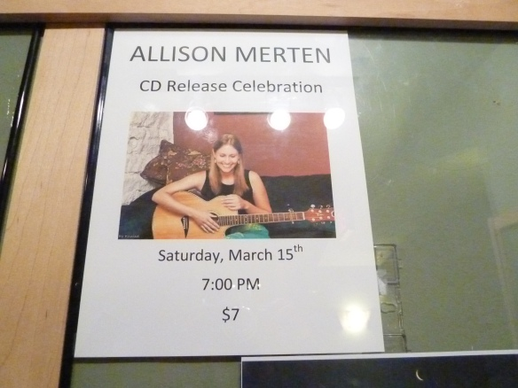 Allison Merten CD Release Sign