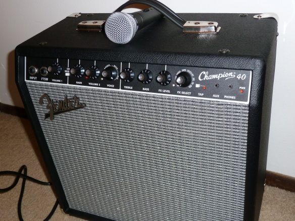 My New Fender Champion 40 Amp and Shure SM58S Microphone :-)