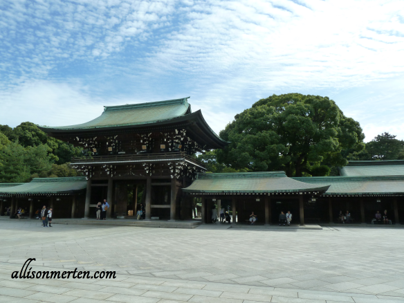 Meiji Shrine. Beautiful buildings against a beautiful sky surrounded by beautiful trees. Just breath-taking! :-D
